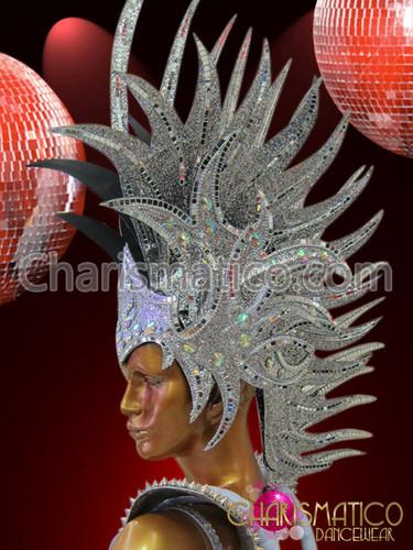 Diva S Roman Helmet Styled Silver Glitter Mirror Covered