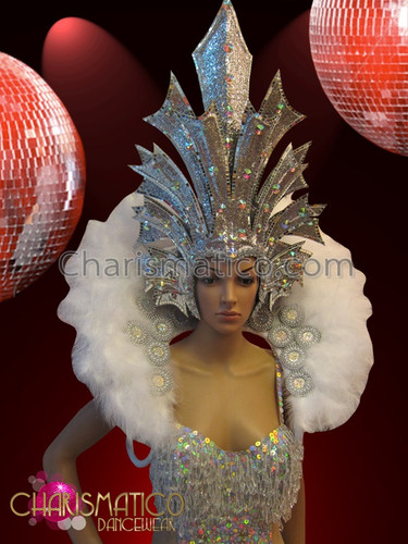 White Crystal Accented Showgirl S Leotard Headdress And