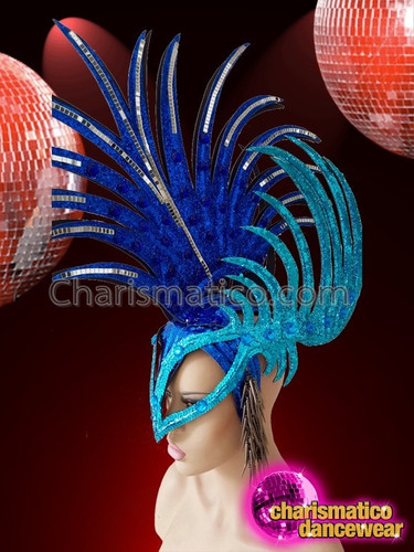 Charismatico Blue Cock Feather Mohawk Masque Style Drag