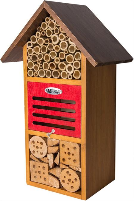 iris honey stain beneficial bug hotel, polinator, organic gardening