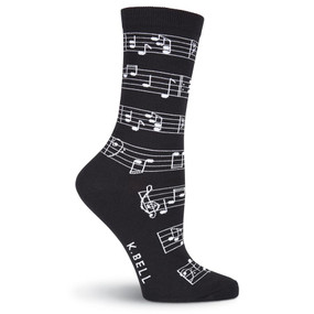 music note womens crew socks - black