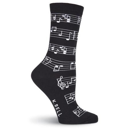 music note womens crew socks - black