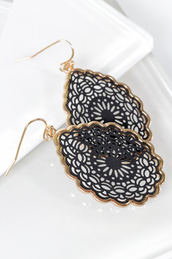 tear drop hook earrings, laser cut mandala, black