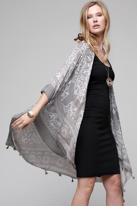 mandala lotus kimono, grey, semi sheer, viscose