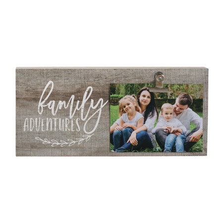 family adventures, picture  clip, rustic, 5.5 x 12