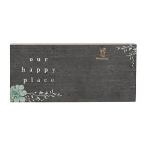 happy place, picture clip, rustic, 5.5 x 12 x 1.25