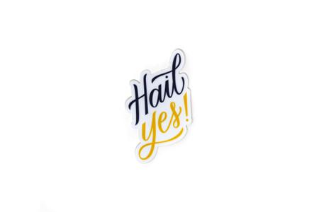"hail yes! michigan sticker, indoor/outdoor use, 3"" sticker, vinyl, UV-resistant laminate"