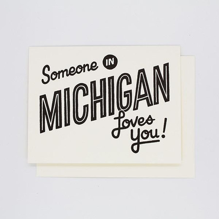 someone in michigan loves you, love card
