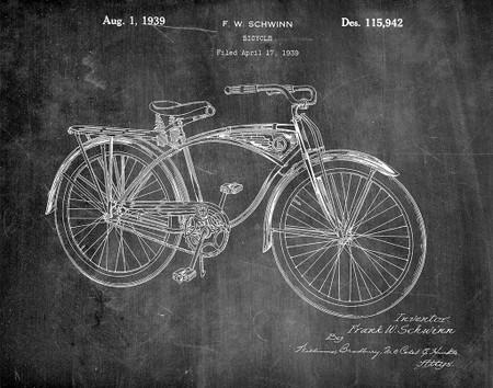 schwinn bicycle 1939 patent art print -  chalkboard, vintage,  office