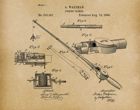 fishing tackle 1884 -  patent art print - parchment
