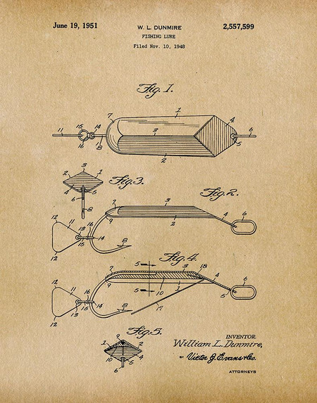 fishing lure 1951 -  patent art print - parchment
