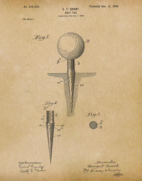 golf tee 1899 -  patent art print - parchment