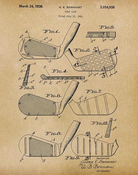 golf club 1936 -  patent art print - parchment