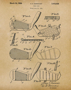 golf club 1936 -  patent art print - parchment