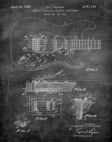 fender guitar 1956 -  patent art print - chalkboard