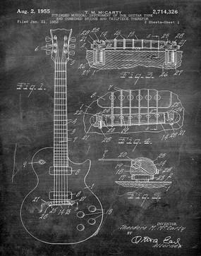 gibson guitar 1955 -  patent art print - chalkboard