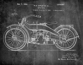 harley motorcycle 1924 -  patent art print - chalkboard