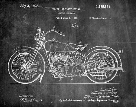harley motorcycle 1928 -  patent art print - chalkboard