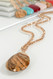 beaded glass teardrop pendant, natural, jasper/topaz stone