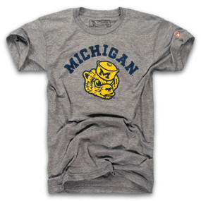 michigan - vintage gray wolverine unisex t-shirt, u of m, university of michigan