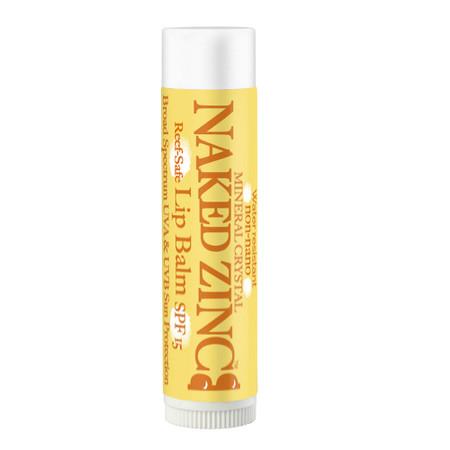 naked zinc  lip balm spf 15, sun protection
