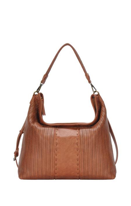 tan textured hobo handbag