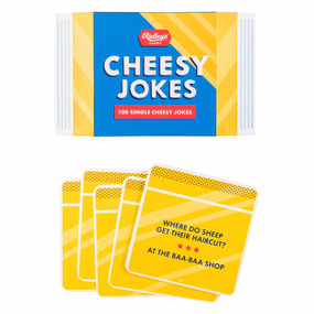 100 cheesy jokes, cheese packet- shaped box, cheese slice