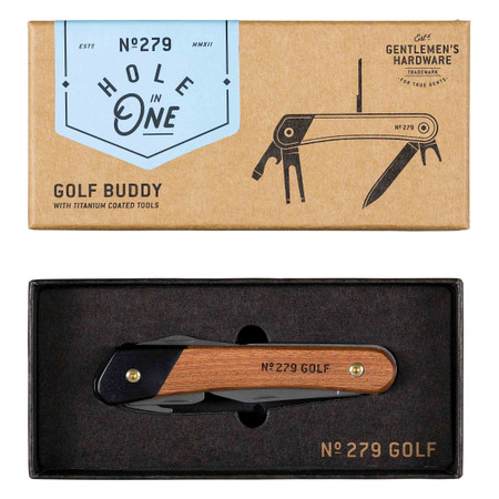 golf multi-tool, wood and titanium finish , gift for any golfing amateur or professional