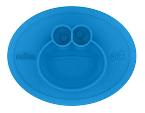 sesame street cookie monster mat, flexible, self-feeding, fine motor skills
