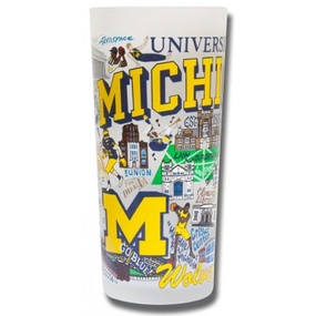 university of michigan glass, frosted, wolverines