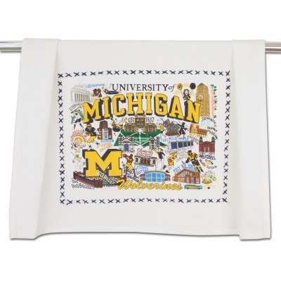 university of michigan dish towel, wolverine
