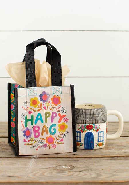 small multi colored floral happy bag