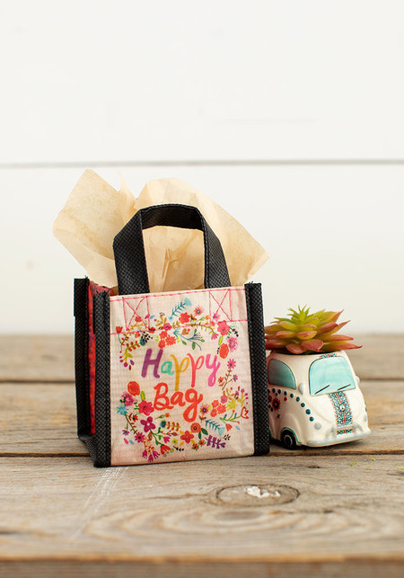 tiny multi floral wreath happy bag