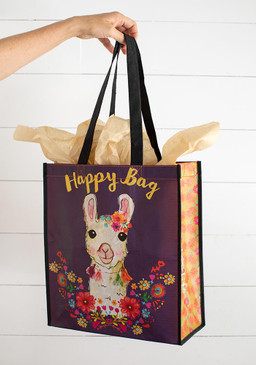 large llama wreath happy bag