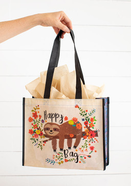 large sloth floral happy bag