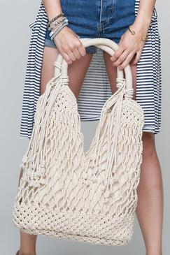 macrame canvas shoulder bag, rope tassel accent
