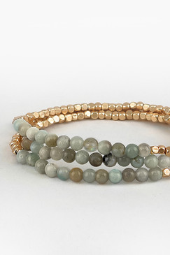 labradorite metal bead stretch bracelet