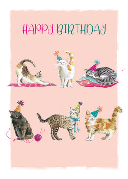 cats happy birthday card
