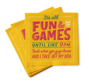 fun and games napkins, 9:00 pm
