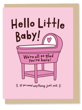 hello little baby - girl, new baby card