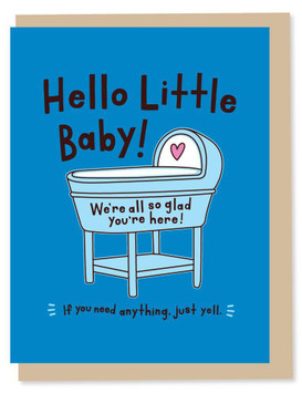 hello little baby - boy, new baby card