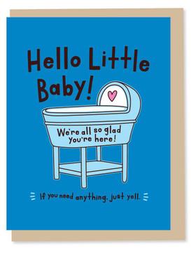 hello little baby - boy, new baby card