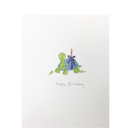 birthday turtle with candle birthday card