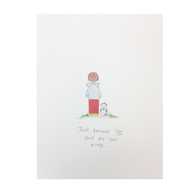 just because you don't see wings thank you card