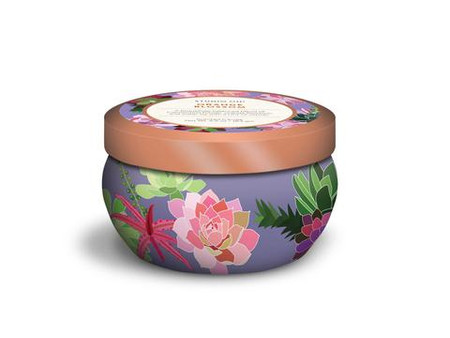 orange blossom printed travel tin candle, floral pattern