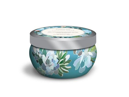 english pear printed travel tin candle, floral design