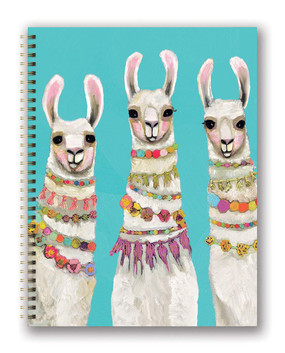 boho llamas 2020 extra-large spiral planner, front cover