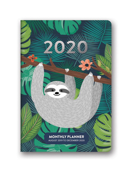 jungle life sloth 2020 monthly pocket planner, front cover