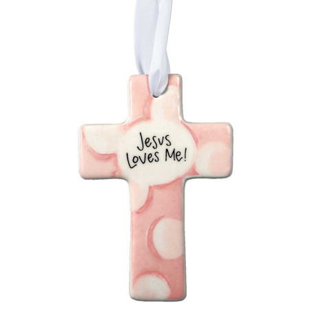 ceramic baby cross (pink)