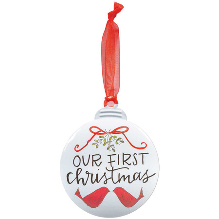love birds personalizable ornament, front